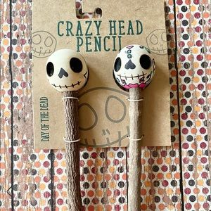 Crazy Head Pencil Day Of The Dead Wooden Pencils Mexican Art Halloween 2Pk NEW